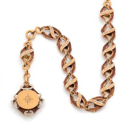 Chaîne de montre en or 18K (750), articulée de maillons ovales émaillés rouge et...