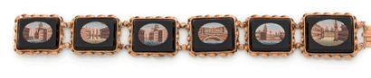 Bracelet «souvenir du Grand Tour» en or 18K (750), articulé de maillons quadrangulaires,...
