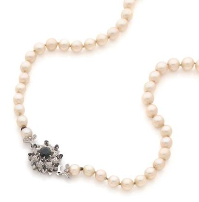 Collier de perles de culture en chute, fermoir...