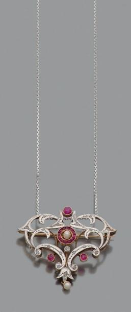 Broche-pendentif fleuron en or gris 18K (750),...