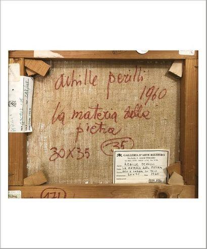 ACHILLE PERILLI (NÉ EN 1927) La question de la matière, 1960 Huile et sable sur toile....