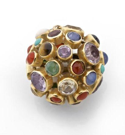 GROSSE BRELOQUE boule ornée de diverses pierres...