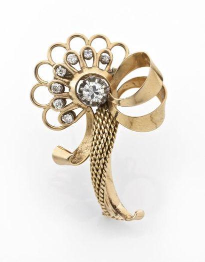 CLIP noeud de ruban en or enrichi d'un diamant...