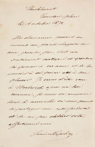 NAPOLÉON IV, Louis Napoléon Bonaparte, dit (1856-1879)