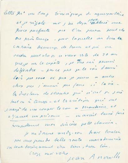 ANOUILH Jean (1910-1987) Illustre auteur dramatique français Lettre autographe signée...