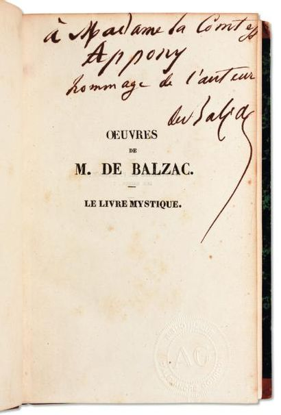 BALZAC, Honoré de (1799-1850) Ecrivain français. Dédicace autographe signée dans...