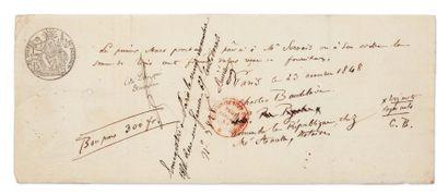 BAUDELAIRE Charles (1821-1867) Le poète des Fleurs du mal. Document autographe signé...
