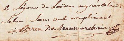 BEAUMARCHAIS, Pierre Augustin Caron de (1732-1799) Ecrivain et auteur dramatique...
