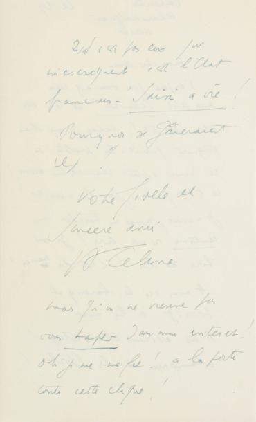CÉLINE, Louis-Ferdinand Destouches, dit (1894-1961)