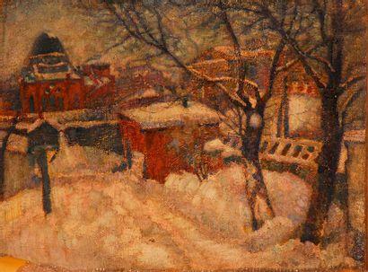 KOSLOFF, Abraham (1877 - 1933) ou KOZLOV Vue d'un village sous la neige, 1919 Huile...