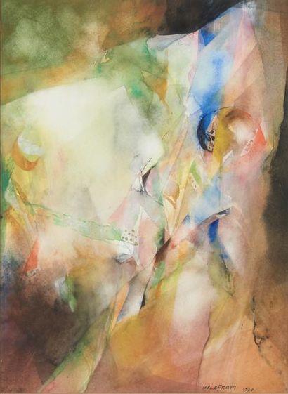 Wolfram AICHELE (né en 1924) Sans titre, 1974 Aquarelle sur papier, signée et datée...