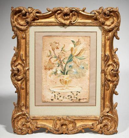 Composition florale Soie sur parchemin dans...