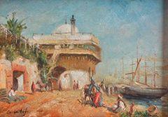 C. LATIF Vue d'un port oriental Huile sur toile, signée en bas à gauche H_12 cm L_18,5...