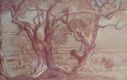 École FRANÇAISE du XXe siècle Bosquet d'arbres sur un coteau Crayon de couleurs sur...