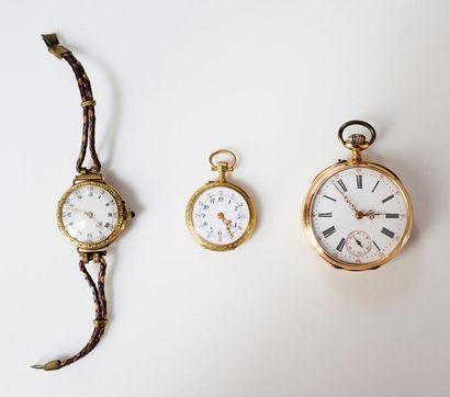 Lot composé de trois montres de poche en...