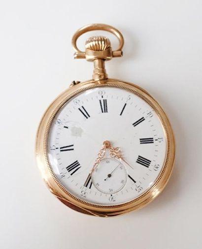 Une montre de poche En or 18 k (750) cadran...