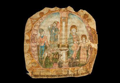 Grande initiale M enluminée avec rehauts d'or sur vélin provenant d'une Bible de...