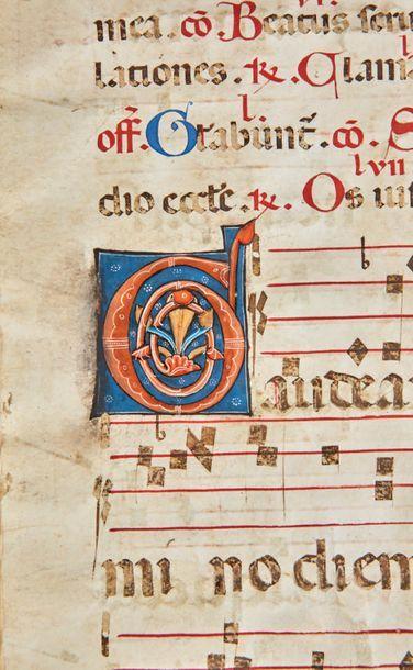Ensemble de huit feuilles de parchemin provenant d'un graduel avec six grandes initiales...