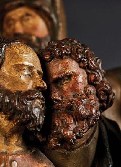 Groupe de retable en chêne sculpté et polychromé représentant le Baiser de Judas....