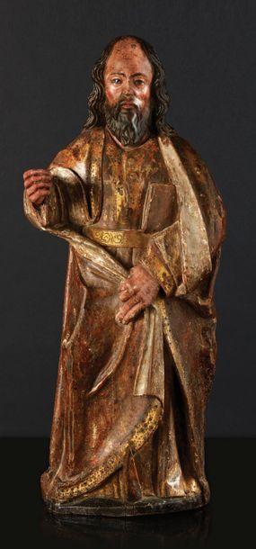 Saint Apôtre (Jacques?) en bois sculpté,...