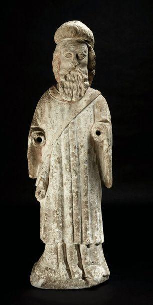 Saint Jacques en pierre calcaire sculptée,...