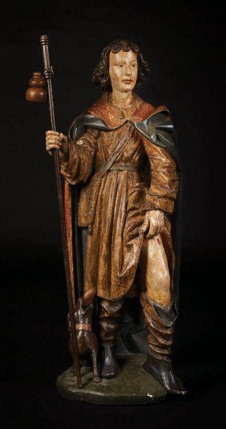 Saint Roch en bois sculpté et polychromé,...