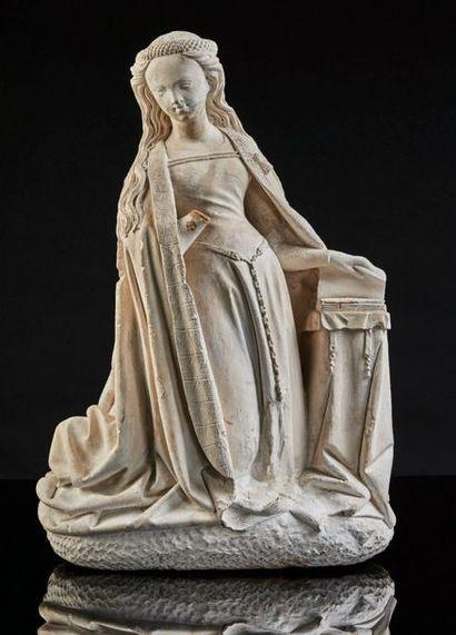 Vierge de l'Annonciation en pierre calcaire...