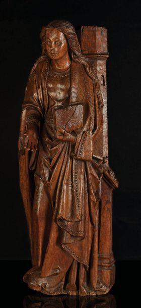 Sainte Barbe en chêne sculpté, dos creusé....