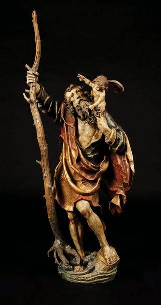 Saint Christophe en bois sculpté en rondebosse,...