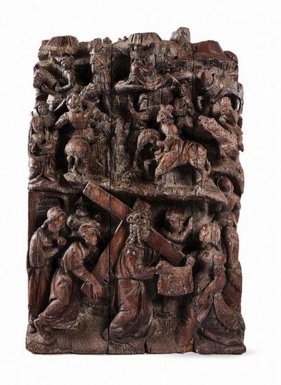 Grand panneau de retable en chêne sculpté...