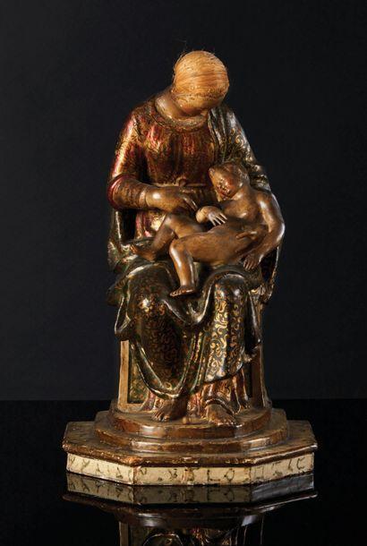 Vierge à l'Enfant en carta pesta polychromé...