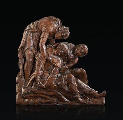 Groupe d'applique en chêne sculpté représentant...