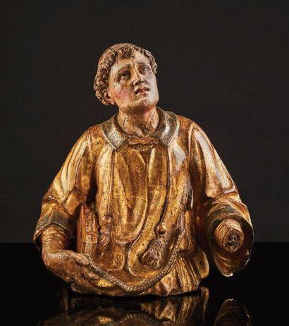 Buste de saint Etienne en bois sculpté, polychromé...