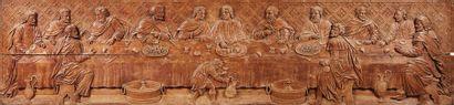 Grand antependium en chêne sculpté en bas-relief...
