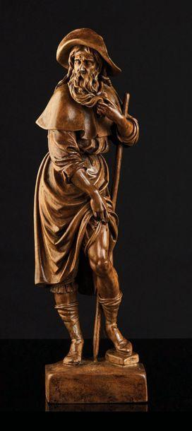Saint Roch en tilleul sculpté en ronde-bosse....
