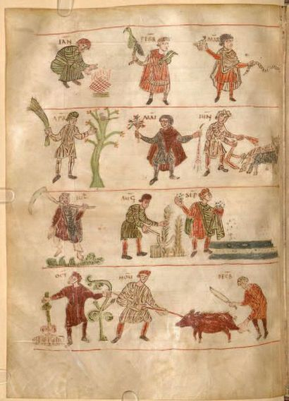 Rare fragment avec enluminure polychrome et rehauts de blanc d'un calendrier carolingien...