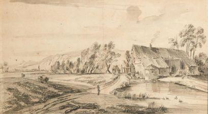 Jean-Baptiste LALLEMAND (Dijon 1716 - Paris 1803) Paysage Deux dessins au crayon...