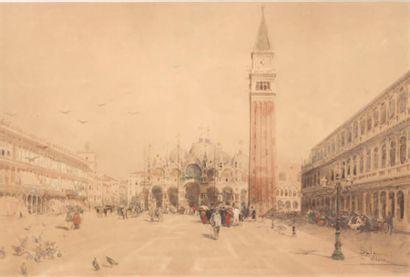 PAOLO SALA (MILANO 1858 - 1929) Vue de Piazza San Marco à Venise Aquarelle sur papier...