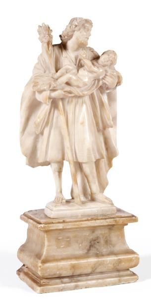 SAINT JOSEPH en albâtre sculpté en ronde-bosse....