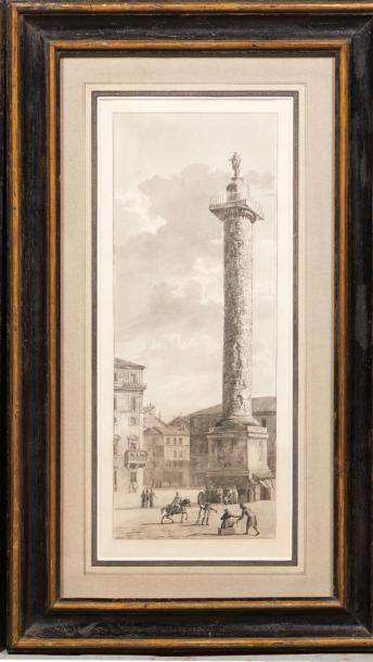 ÉCOLE ROMAINE DU DÉBUT DU XIXE SIÈCLE Vue de la colonne Trajane Vue de la colonne...