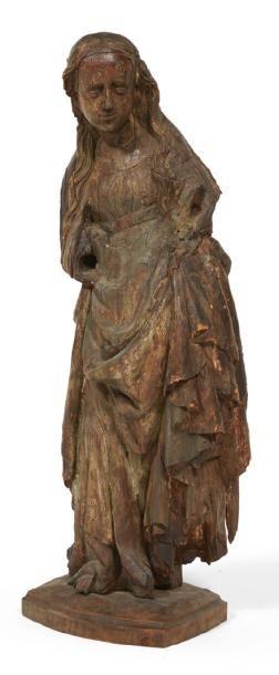 VIERGE À L'ENFANT en bois sculpté, dos évidé....