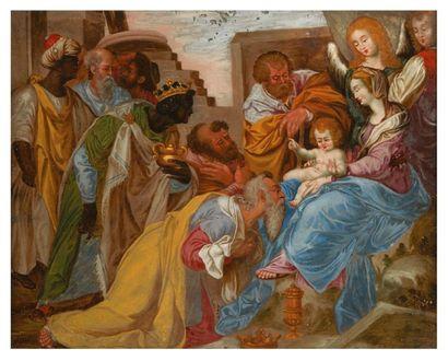FIXÉ SOUS-VERRE polychrome représentant l'Adoration...