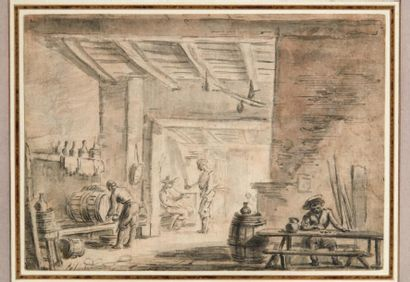 ÉCOLE DE LUDOLF BAKHUYZEN LE JEUNE (1717-1782) Scène de taverne Plume et encre de...