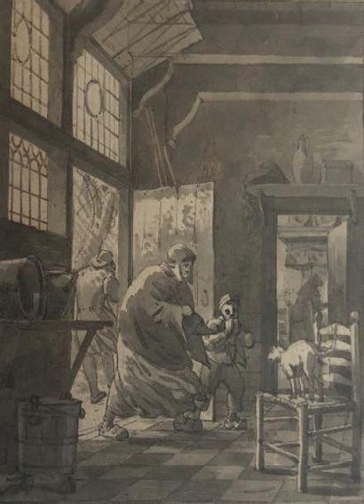 GERRIT LAMBERTS (AMSTERDAM 1776 - 1850) Femme et son enfant rentrant à la maison...