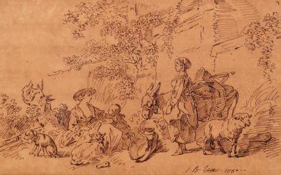 Jean-Baptiste Huet (Paris 1745 - 1811) Pastorale Plume et encre brune sur papier...
