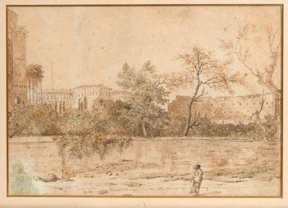 École FRANÇAISE du XVIIIe siècle Personnage dans un jardin romain, au fond les ruines...