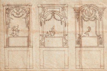 Ecole Flamande du XVIIIe siècle Projets de décors Paire de dessins, crayon noir (taches...