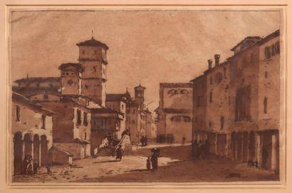 Victor-Jean NICOLLE (Paris 1754-1826) Vue d'une place en Italie Plume et encre brune,...