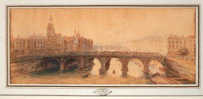 FRANÇOIS THOMAS LOUIS FRANCIA (1772-1839) Quai de l'horloge et Pont Royal Deux aquarelles....