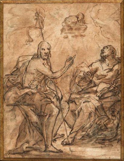 Ecole Italienne du XVIIIe siècle Saint Jean Baptiste et un Evangéliste Plume et encre...